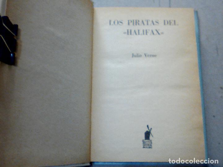 Libros antiguos: LOS PIRATAS DE HALIFAX JULIO VERNE EDITORIAL MOLINO - Foto 2 - 196978282