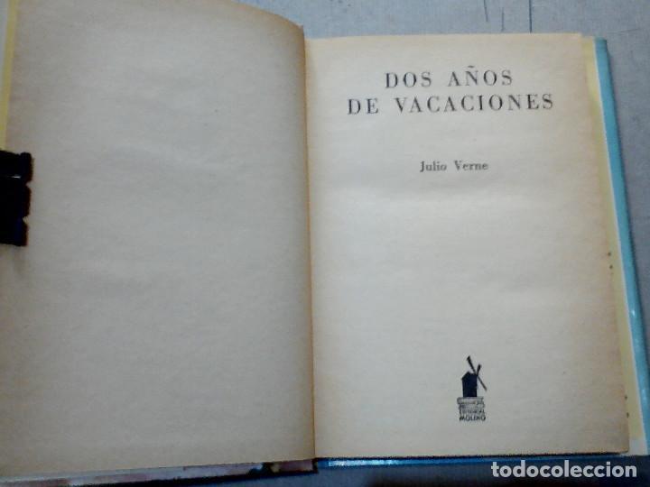 Libros antiguos: DOS AÑOS DE VACACIONES JULIO VERNE EDITORIAL MOLINO - Foto 2 - 196979351