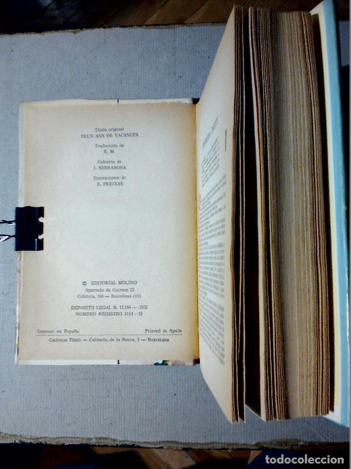Libros antiguos: DOS AÑOS DE VACACIONES JULIO VERNE EDITORIAL MOLINO - Foto 3 - 196979351