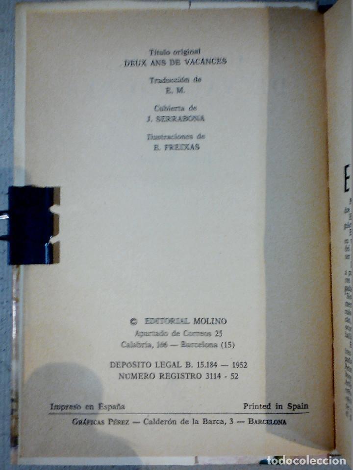 Libros antiguos: DOS AÑOS DE VACACIONES JULIO VERNE EDITORIAL MOLINO - Foto 4 - 196979351