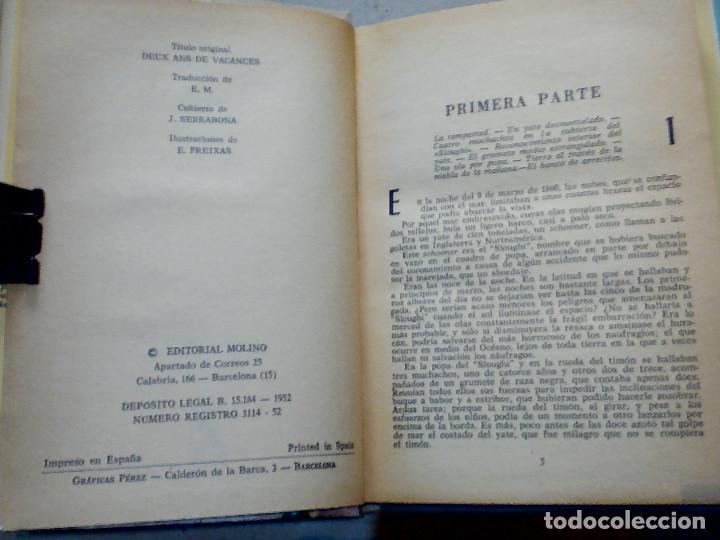 Libros antiguos: DOS AÑOS DE VACACIONES JULIO VERNE EDITORIAL MOLINO - Foto 5 - 196979351
