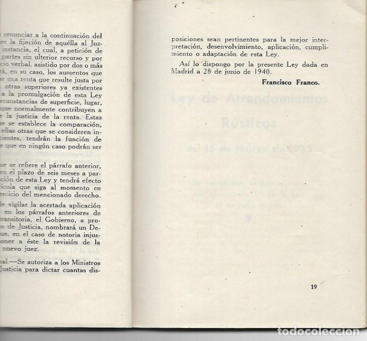 Libros antiguos: LIBRITO LEY DE ARRENDAMIENTOS - AÑO 1940 - LEGISLACION DEL NUEVO ESTADO - Foto 3 - 197131876