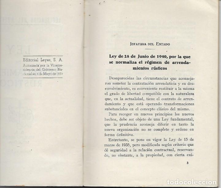 Libros antiguos: LIBRITO LEY DE ARRENDAMIENTOS - AÑO 1940 - LEGISLACION DEL NUEVO ESTADO - Foto 4 - 197131876