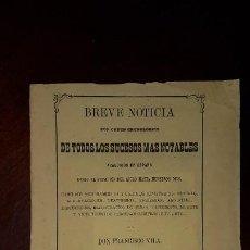 Libros antiguos: BREVE NOTICIA DE TODOS LOS SUCESOS MÁS NOTABLES ACAECIDOS EN ESPAÑA (1801-1868) - 1868. Lote 197196757