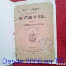 Livres anciens: 1896 SEVILLA NOVENA SAN ANTONIO DE PADUA ENVIO 0,8 € PENINSULA 2020 CM4. Lote 197210768