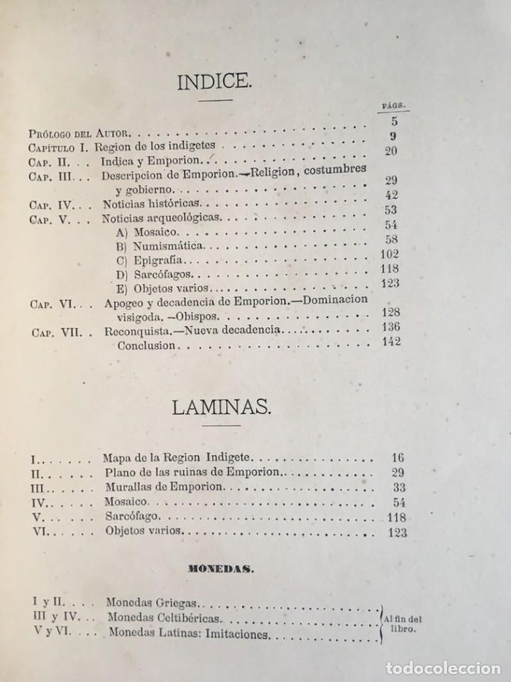 Libros antiguos: NOTICIA HISTÓRICA Y ARQUEOLÓGICA DE LA ANTIGUA CIUDAD DE EMPORION - JOAQUIN BOTET Y SISÓ - 1879 - Foto 9 - 197275837