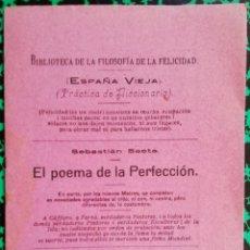 Libros antiguos: EL POEMA DE LA PERFECCIÓN - SEBASTIÁN SAETA - 1928 - E. MALLORCA.PALMA.COLÓN,48 - PJRB. Lote 197369286
