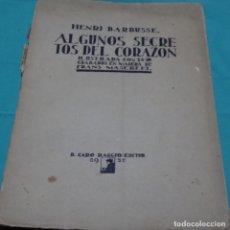 Libros antiguos: LIBRO DE HENRI BARBUSSE.ALGUNOS SECRETOS DEL CORAZÓN.24 GRABADOS DE FRANS MASEREEL.1921.. Lote 198376847