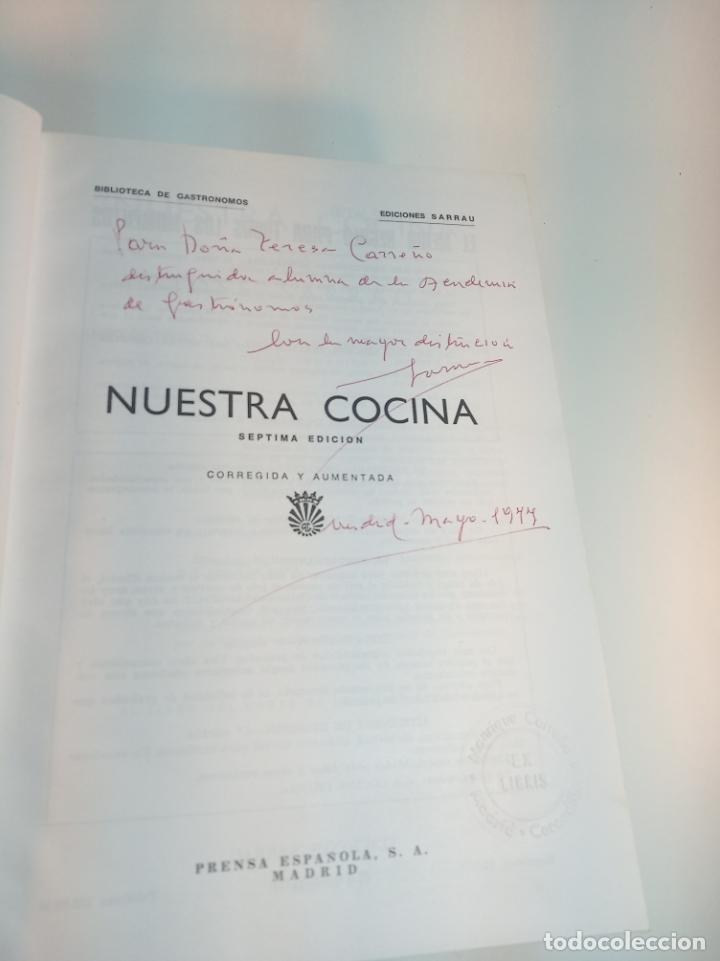Libros antiguos: Gran libro. Nuestra cocina. José Sarrau. Prensa Española. Madrid. Firmado y dedicado.1977. - Foto 2 - 198406178