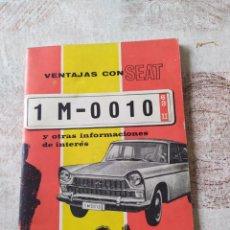 Libros antiguos: VENTAJAS CON SEAT Y OTRAS INFORMAIONES DE INTERES SOBRE MATRICULA TURISTICA. Lote 198905278