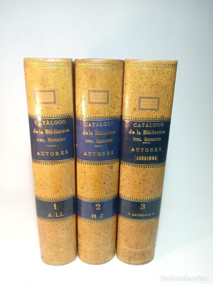 CATÁLOGO DE LA BIBLIOTECA DEL SENADO. AUTORES Y ANÓNIMOS. 3 TOMOS. MADRID. 1888.IMPRENTA DE LOS HIJO (Libros Antiguos, Raros y Curiosos - Bellas artes, ocio y coleccionismo - Otros)