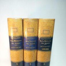 Libros antiguos: CATÁLOGO DE LA BIBLIOTECA DEL SENADO. AUTORES Y ANÓNIMOS. 3 TOMOS. MADRID. 1888.IMPRENTA DE LOS HIJO. Lote 199069900