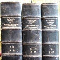 Libros antiguos: CATÁLOGO GENERAL DE LA LIBRERÍA ESPAÑOLA E HISPANOAMERICANA AÑOS 1901-1930. 5 TOMOS EN 3 VOLÚMENES. Lote 199357200