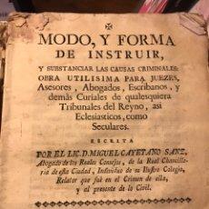 Livros antigos: MODO Y FORMA DE INSTRUIR LAS CAUSAS CRIMINALES 1774 MIGUEL CAYETANO SANZ. Lote 199959362