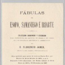 Livres anciens: FÁBULAS DE ESOPO, SAMANIEGO É IRIARTE- 1894. Lote 199993743