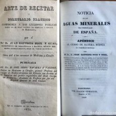 Libros antiguos: ARTE DE RECETAR- AGUAS MINERALES DE ESPAÑA- DOS OBRAS- JUAN BAUTISTA FOIX- BARCELONA 1835. Lote 200035291