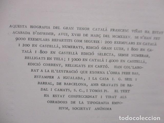 Libros antiguos: EL TENOR, POR FRANCESC VIÑAS. - Lleva una dedicatoria y firmada por Pere V. / ejemplar nº 54. - Foto 21 - 200088528