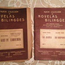 Libros antiguos: ANTIGUOS 2 LIBROS NUEVA COLECCIÓN DE NOVELAS BILINGUES EL OJO DE CRISTAL, LAS CAMPSANAS AÑOS 30. Lote 200168161