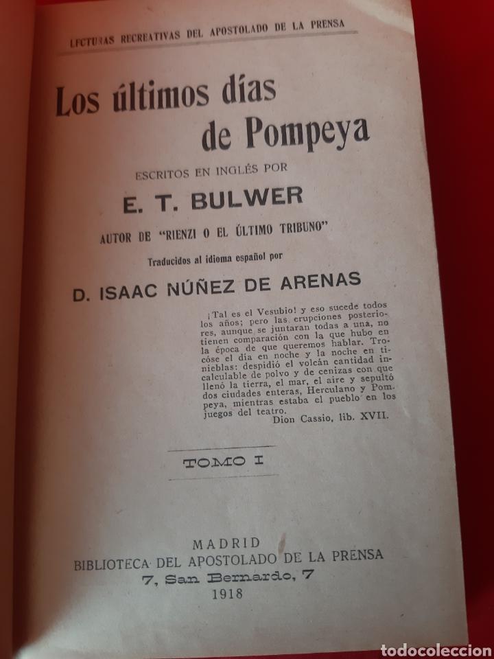 Libros antiguos: LOS ÚLTIMOS DIAS DE POMPEYA.ET BULWER.D.ISAAC NÚÑEZ DE ARENAS.TOMO I. MADRID 1918 - Foto 2 - 200271628