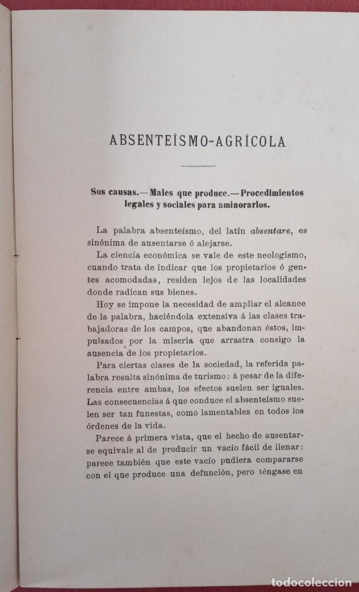 Libros antiguos: RARO LIBRILLO. ABSENTEÍSMO-AGRÍCOLA, EL EJÉRCITO Y LA CRUZ ROJA. E MIRACLE 1911. W - Foto 2 - 200615665