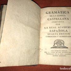 Libros antiguos: GRAMÁTICA DE LA LENGUA CASTELLANA COMPUESTA POR LA REAL ACADEMIA ESPAÑOLA. 4ª ED. 1796. Lote 201272495