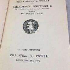 Libros antiguos: THE WILL TO POWER NIETZSCHE. 1913 2 TOMOS, EN INGLÉS EDICIÓN ESPECIAL POR OSCAR LEVY. Lote 202261616