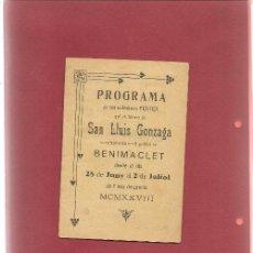Libros antiguos: PROGRAMA SOLEMNES FESTES EN HONOR DE SAN LUIS GONZAGA SE CELEBRARAN EN POBLAT DE BENIMACLET 1928. Lote 202843865