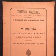 Livres anciens: COMISIÓN ESPECIAL... MEDIOS DE CONTENER EN LO POSIBLE LA EMIGRACIÓN. JOSÉ ALBAREDA. 1882.. Lote 203295922