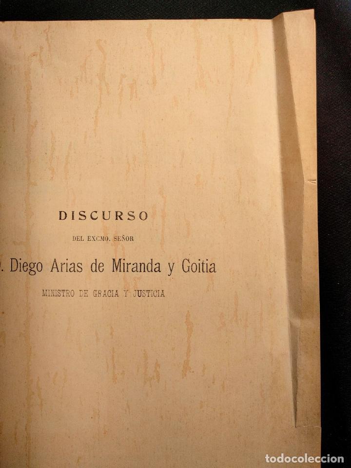 Libros antiguos: Discurso leído por D. Diego Arias de Miranda y Goitia en la solemne apertura de los tribunales. 1912 - Foto 5 - 203296375
