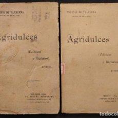 Libros antiguos: AGRIDULCES (POLÍTICOS Y LITERARIOS). 2 VOLS. ANTONIO DE VALBUENA (MIGUEL DE ESCALADA). 1892.. Lote 203296473