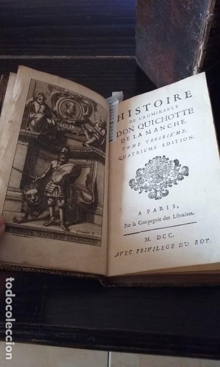 Libros antiguos: Quijote 5 tomos 1700 y Quijote Fernandez de Avellaneda 2 tomos 1707 completos - Foto 2 - 203984056