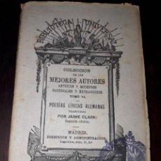 Libros antiguos: LIBRO 2007 COLECCION BIBLIOTECA UNIVERSAL POESIAS LIRICAS ALEMANAS. Lote 204484326