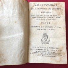 Libros antiguos: L- OBRAS ESCOGIDAS DE D. FRANCISCO DE QUEVEDO VILLEGAS. TOMO I Y II EN UN SOLO VOLUMEN. AÑO 1798.. Lote 204514068