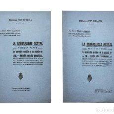 Libros antiguos: LA ANORMALIDAD MENTAL // 2 VOLS. // MEMORIA LAUREADA CON DIPLOMA DE MÉRITO // DR. MARÍN AGRAMUNT. Lote 47391979
