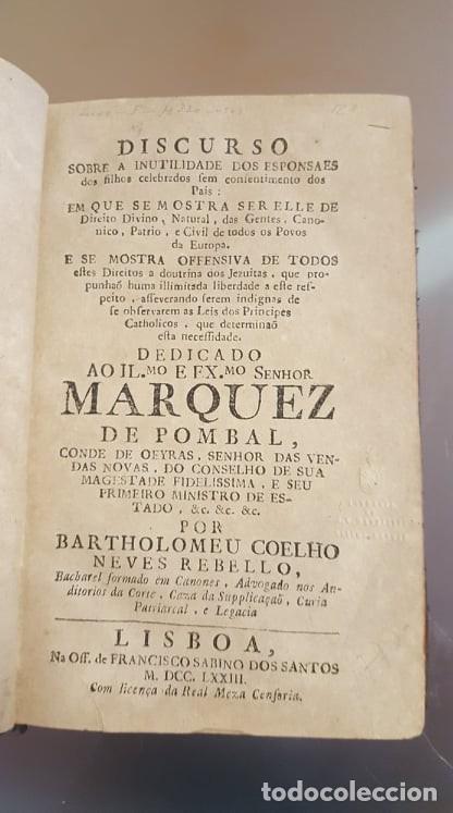 DISCURSO SOBRE A INUTILIDADES DOS ESPONSAES (Libros Antiguos, Raros y Curiosos - Historia - Otros)