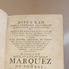 Libros antiguos: DISCURSO SOBRE A INUTILIDADES DOS ESPONSAES. Lote 204697723