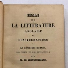 Libros antiguos: ESSAI SUR LA LITTÉRATURE ANGLAISE.. Lote 204760523