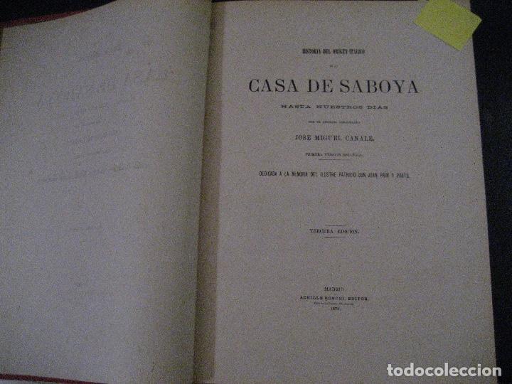 Libros antiguos: 1872 Historia del origen itálico y de la casa de Saboya, José Miguel Canale, Madrid. 2 tomos en uno - Foto 6 - 205064536