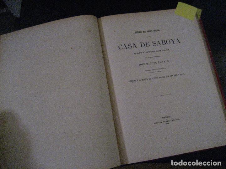 Libros antiguos: 1872 Historia del origen itálico y de la casa de Saboya, José Miguel Canale, Madrid. 2 tomos en uno - Foto 8 - 205064536