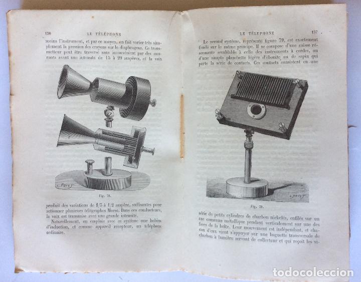 Libros antiguos: LE TELÈPHONE PARIS AÑO 1878. BIBLIOTHEQUE DES MERVEILLES . FRANCES - Foto 3 - 205104647