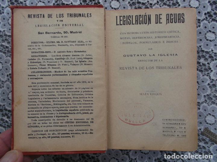 Libros antiguos: Legislacion de aguas,Gustavo la Iglesia,1920,editorial Gongora, mirar fotos - Foto 5 - 205382701
