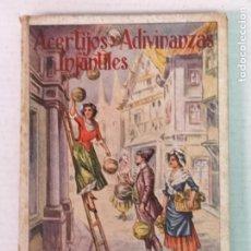 Libros antiguos: ACERTIJOS Y ADIVINANZAS INFANTILES E. SÁNCHEZ RUEDA 1923. Lote 205781651
