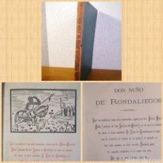 Libros antiguos: 1919 - ASTURIAS - DON NUÑO DE RONDALIEGOS, POR JOHAN MENENDES PIDAL. Lote 205817252