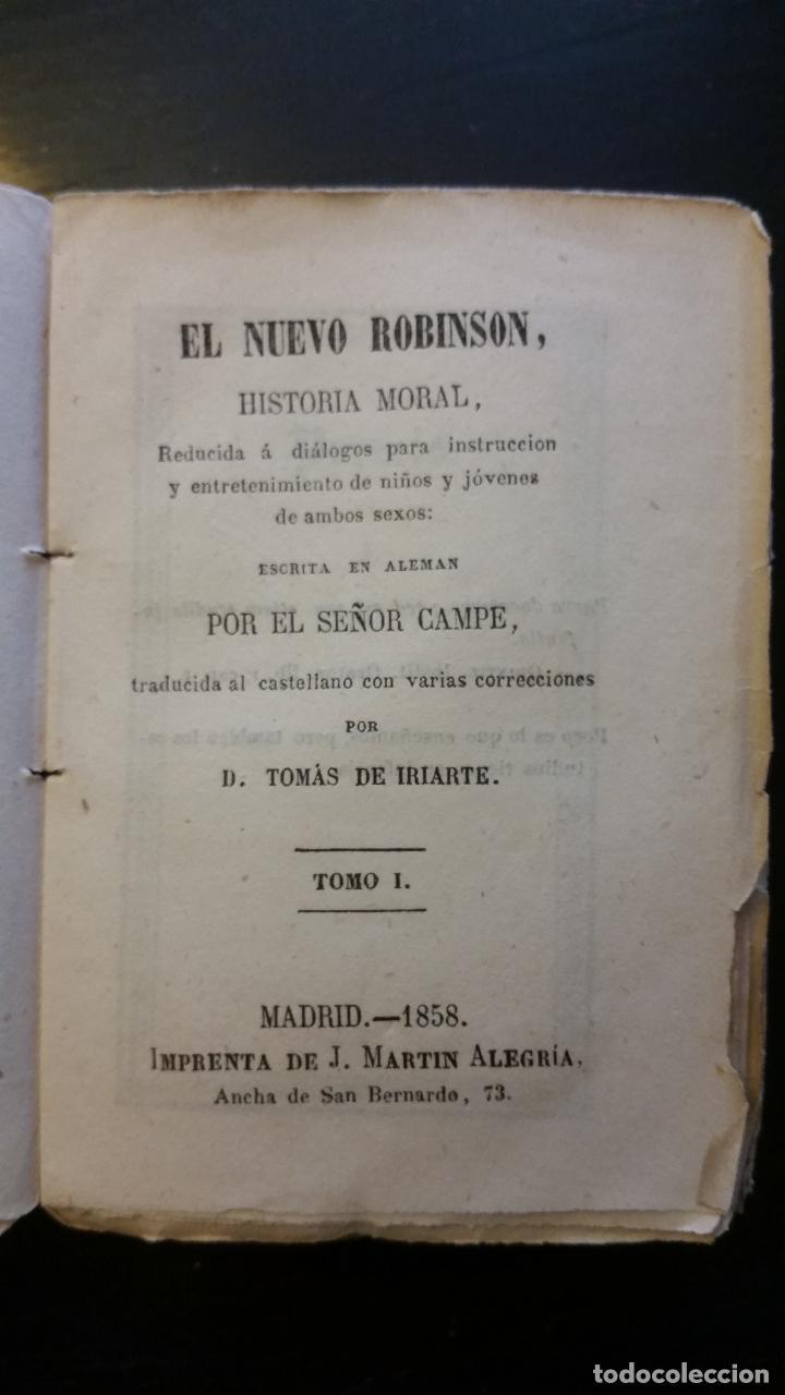 Libros antiguos: 1858 - CAMPE - El nuevo Robinson, historia moral, reducida a diálogos - TOMO I - Foto 3 - 205828680