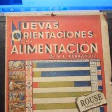 Libros antiguos: GASTRONOMIA - DR. V.L. FERRANDIZ .NUEVAS ORIENTACIONES EN LA ALIMENTACION (BROMATOLOGIA RACIONAL ). Lote 205917602