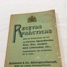 Libros antiguos: RECETAS PRÁCTICAS. PREPARACIÓN EN FRÍO DE LICORES, AGUARDIENTES, ARAC, RON, JARABES.., SCHIMMEL & CO. Lote 206272683