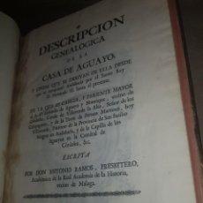 Livres anciens: DESCRIPCION GENEALOGICA DE LA CASA DE AGUAYO, ANTONIO RAMOS. Lote 206287076