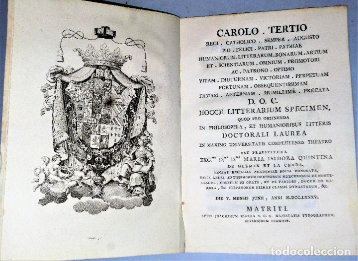 CAROLO TERTIO... HOCCE LITTERARIUM SPECIMEN, QUOD PRO OBTINENDA... (Libros Antiguos, Raros y Curiosos - Literatura - Otros)