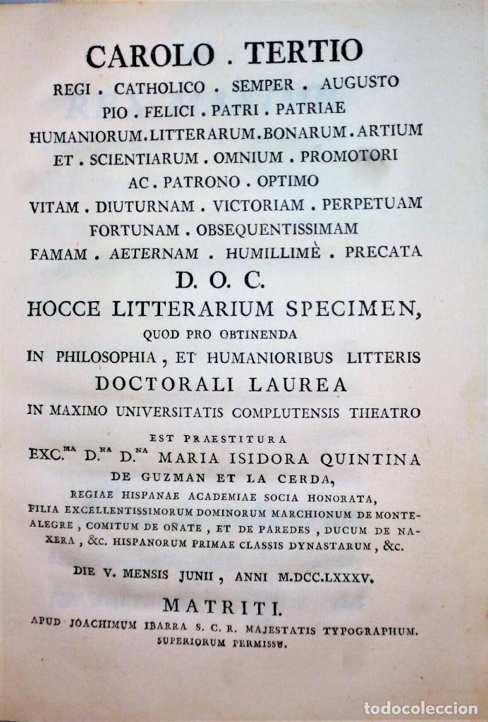 Libros antiguos: CAROLO TERTIO... HOCCE LITTERARIUM SPECIMEN, quod pro obtinenda... - Foto 2 - 206521285