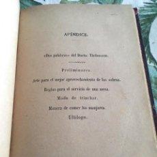 Livros antigos: APENDICE DEL PRACTICÓN. ANGEL MURO. FINALES SXIX. GASTRONOMIA. Lote 206789281
